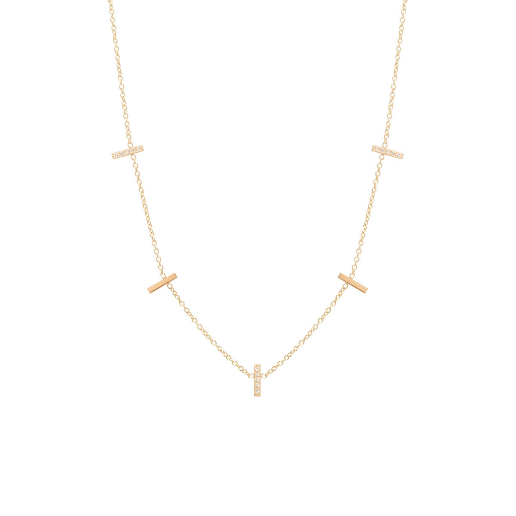 Zoë Chicco 14kt Yellow Gold 5 Diamond Pave Vertical Tiny Bars Station Necklace