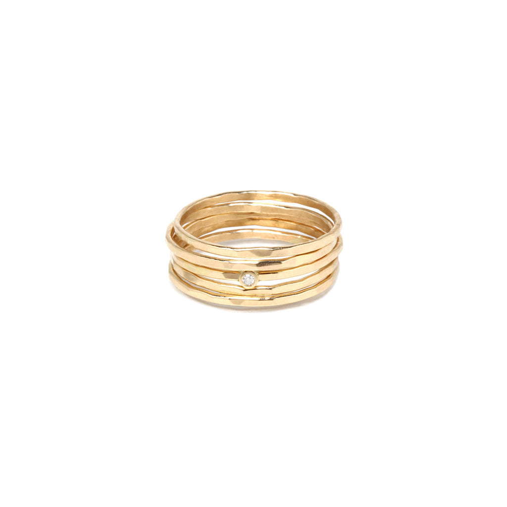14k hammered 5 ring set