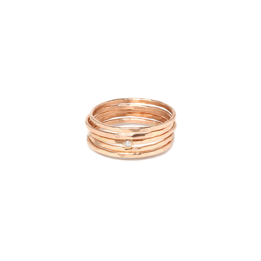 Zoë Chicco 14kt Yellow Gold Hammered 5 Ring Set