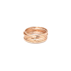 Zoë Chicco 14kt Rose Gold Hammered 5 Ring Set