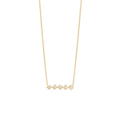 Zoë Chicco 14kt Yellow Gold 5 Horizontal Princess Cut Diamond Necklace