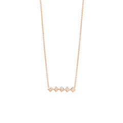 Zoë Chicco 14kt Rose Gold 5 Horizontal Princess Cut Diamond Necklace
