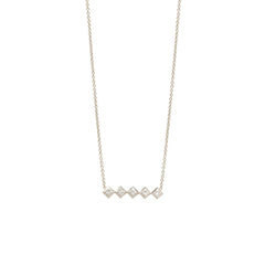 Zoë Chicco 14kt White Gold 5 Horizontal Princess Cut Diamond Necklace