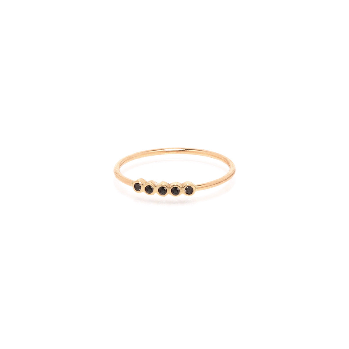 Zoë Chicco 14kt Yellow Gold 5 Tiny Black Diamond Bezel Set Ring