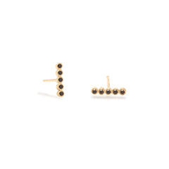 14k tiny black diamond bezel bar studs