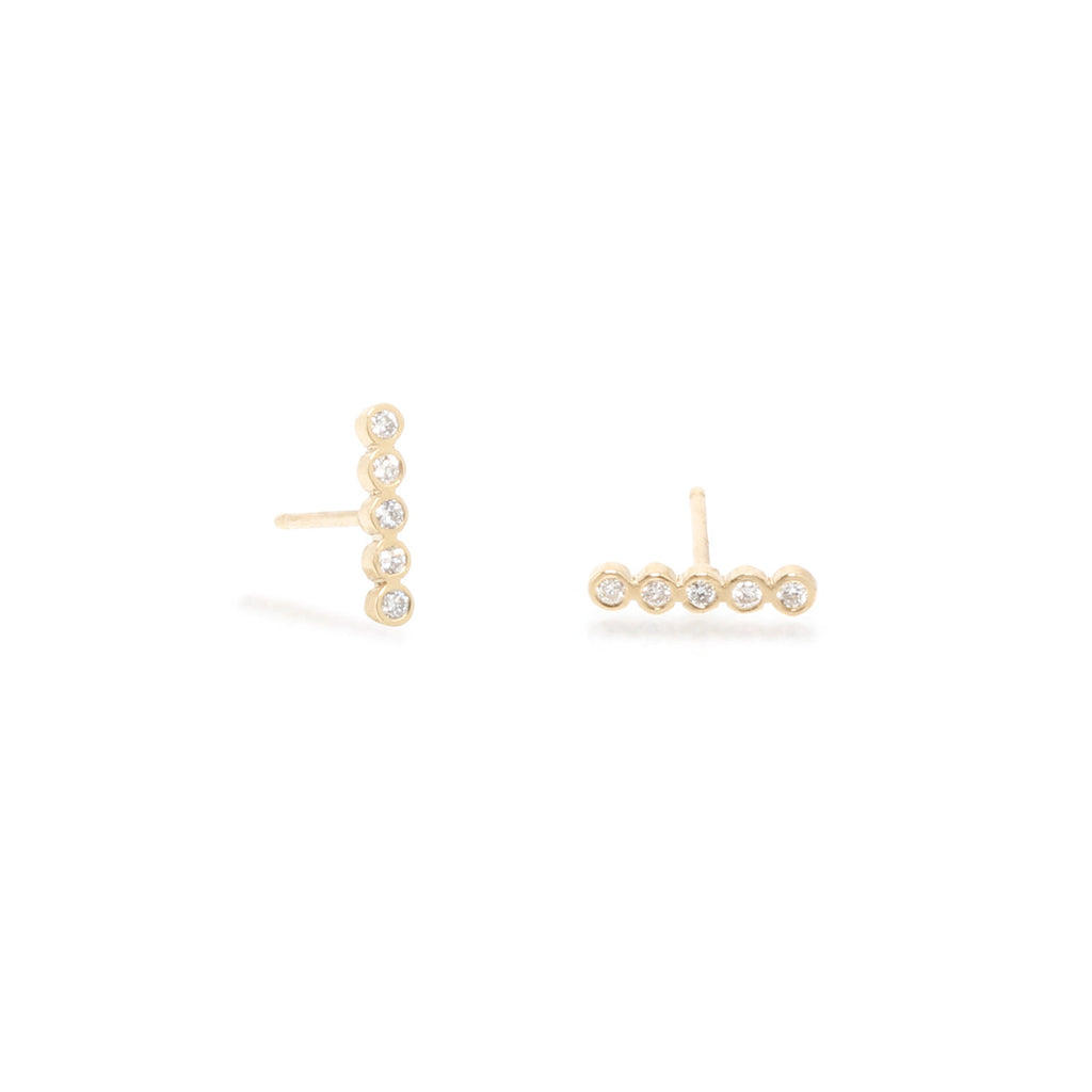14k tiny diamond bezel bar studs