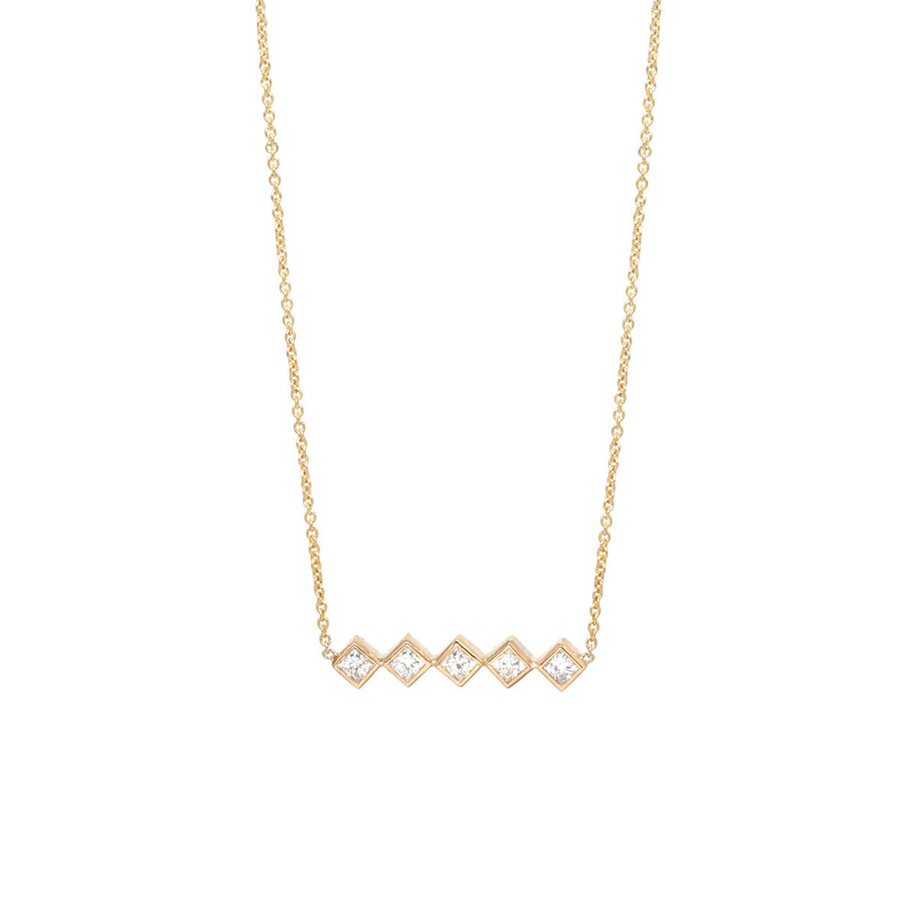 Zoë Chicco 14kt Yellow Gold 5 White Princess Cut Diamond Bar Necklace