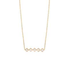 14k 5 diamond bar necklace
