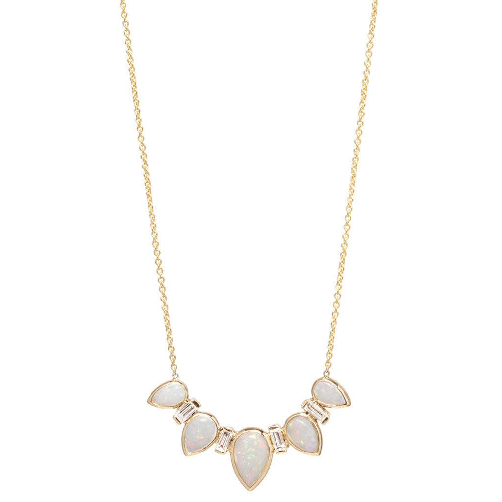 14k opal tear & baguette diamond necklace