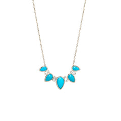 14k turquoise tear and baguette diamond necklace