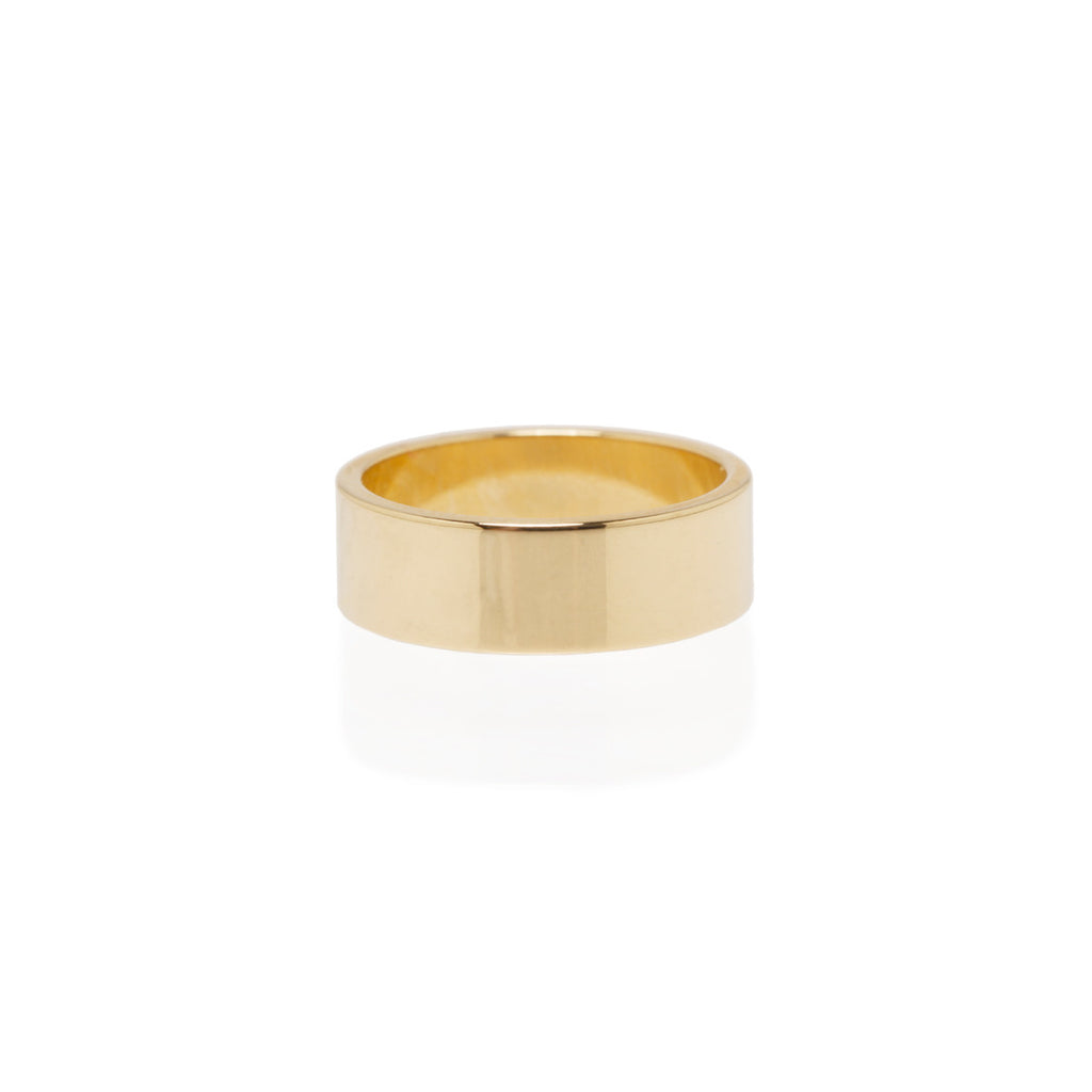 14k 6mm wide flat band ring