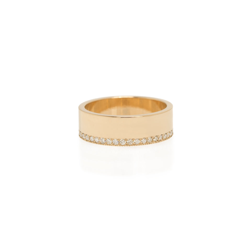 14k pave diamond wide flat band ring