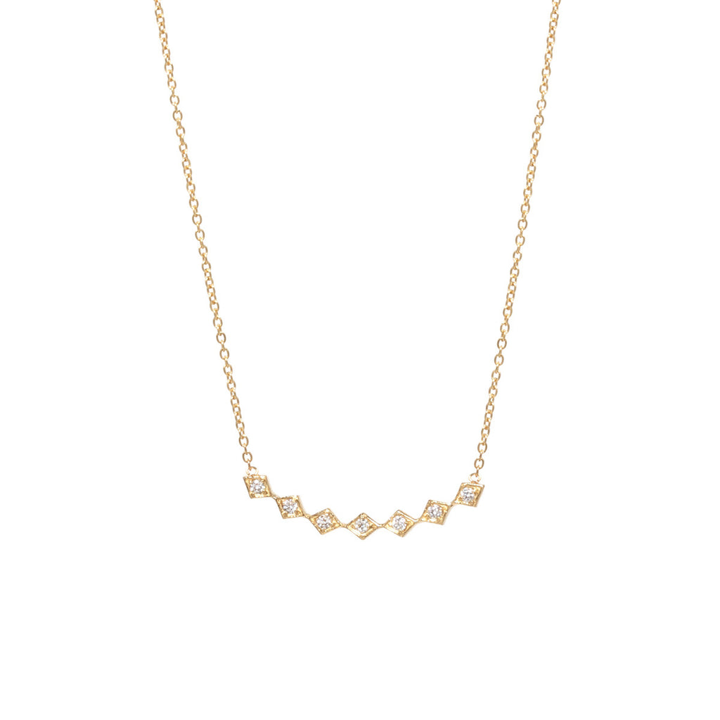 14k curved tiny diamond shaped bar necklace