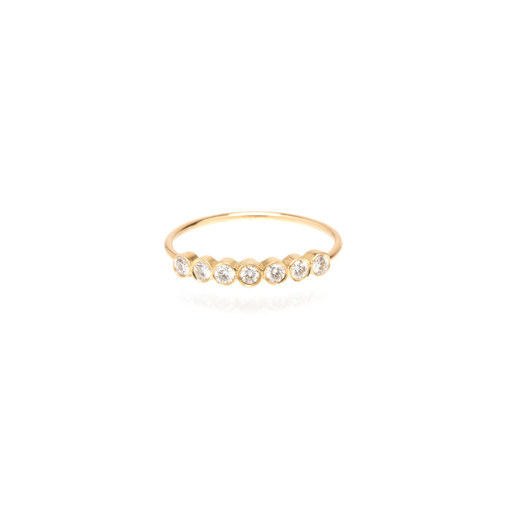 Zoë Chicco 14kt Yellow Gold 7 Bezel Set White Diamond Ring