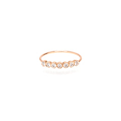 Zoë Chicco 14kt Rose Gold 7 Bezel Set White Diamond Ring