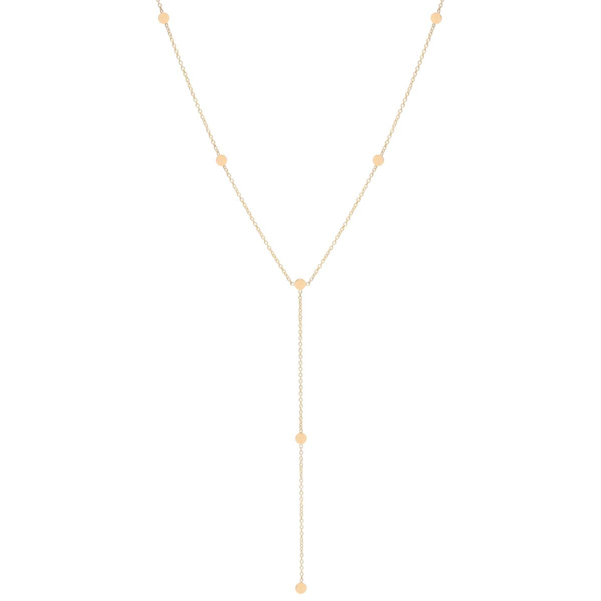 Zoë Chicco 14kt Yellow Gold Itty Bitty Round Disc Lariat