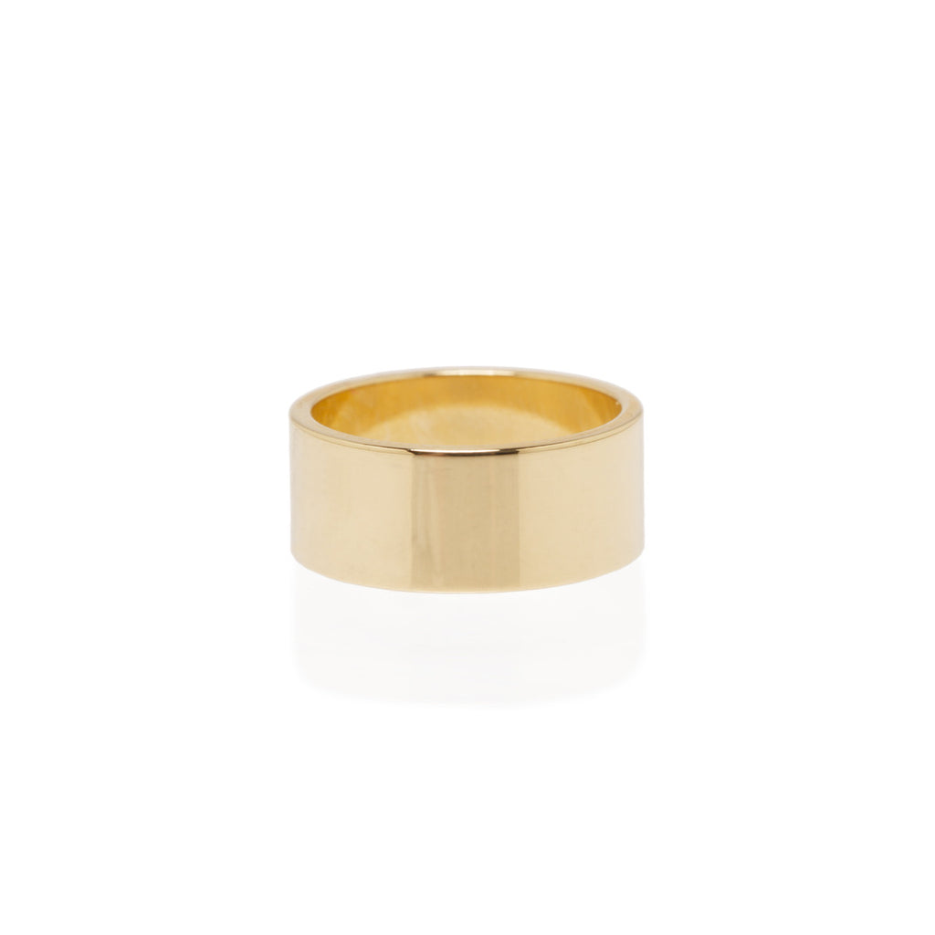 14k 8mm wide flat band ring