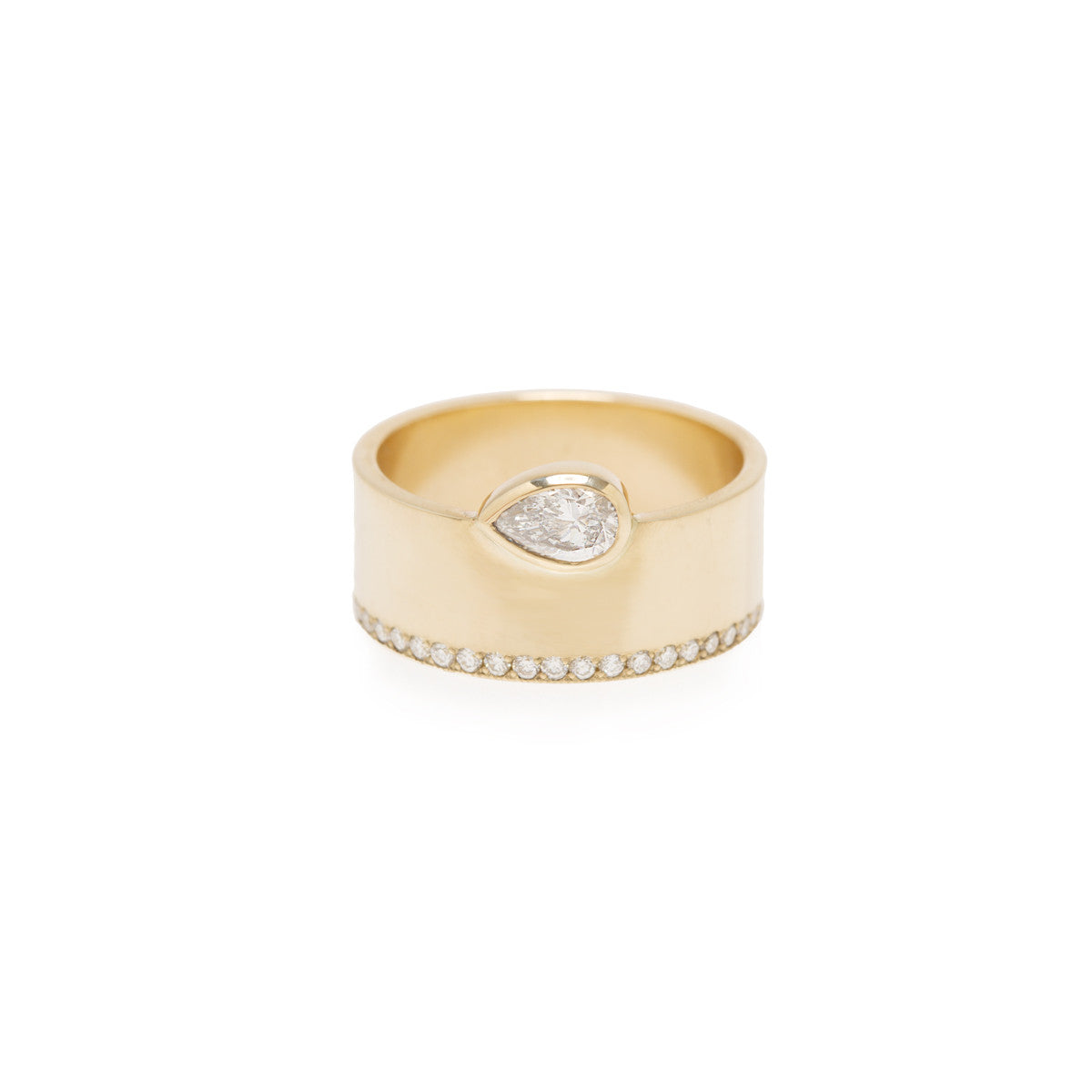 14k pave and pear shaped diamond wide flat band ring
