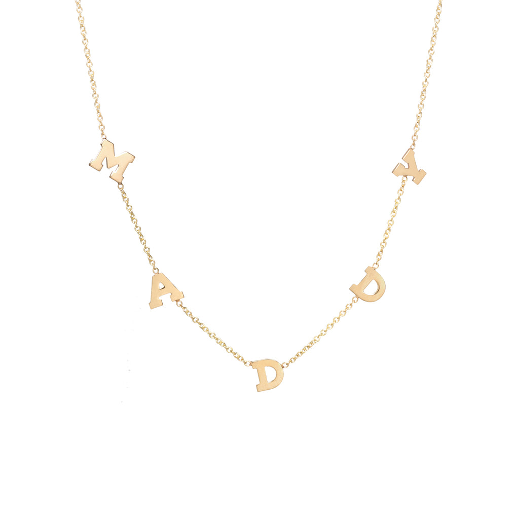 14k scattered letter necklace