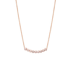 14k 9 bezel set diamond necklace