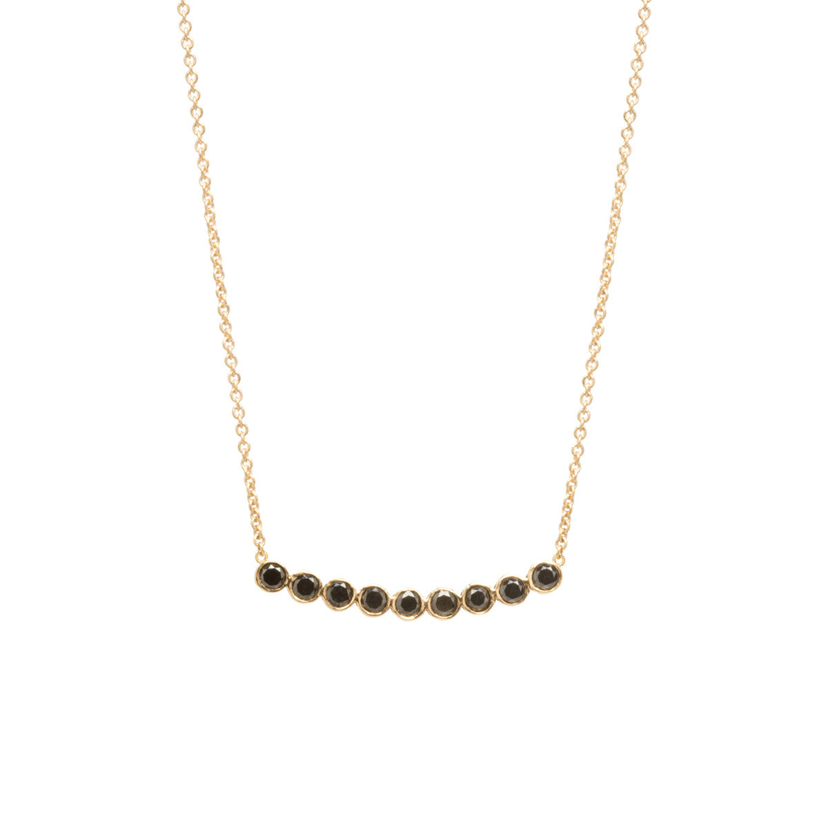 Zoë Chicco 14kt Yellow Gold 9 Black Diamond Bezel Set Necklace