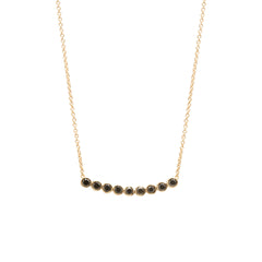 9 bezel set black diamond necklace