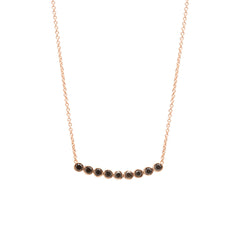 Zoë Chicco 14kt Rose Gold 9 Black Diamond Bezel Set Necklace