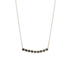 Zoë Chicco 14kt White Gold 9 Black Diamond Bezel Set Necklace