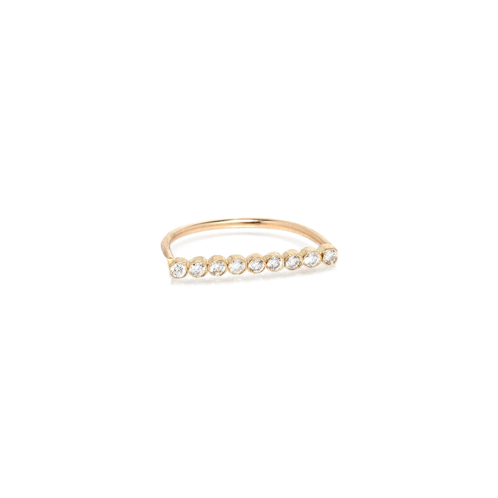 Zoë Chicco 14kt Yellow Gold 9 White Diamond Bar Ring