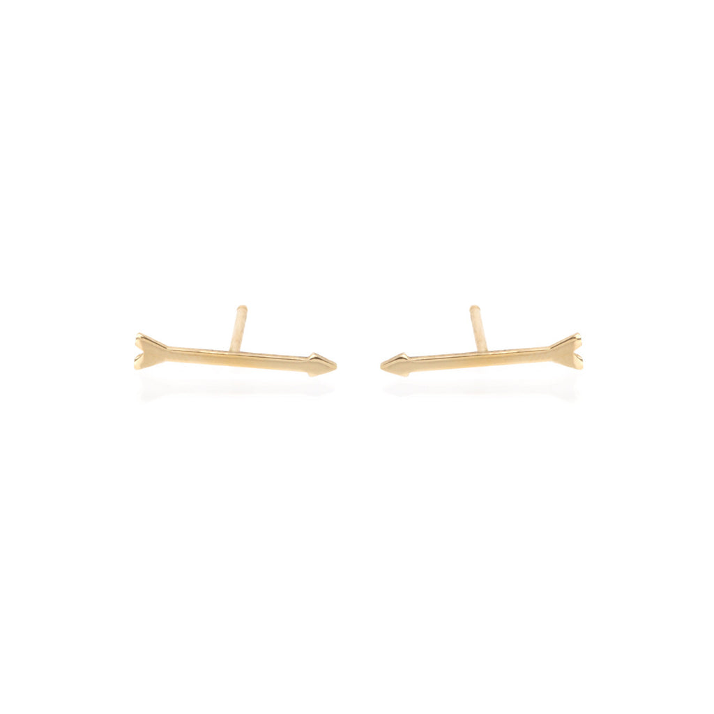 14k tiny arrow studs
