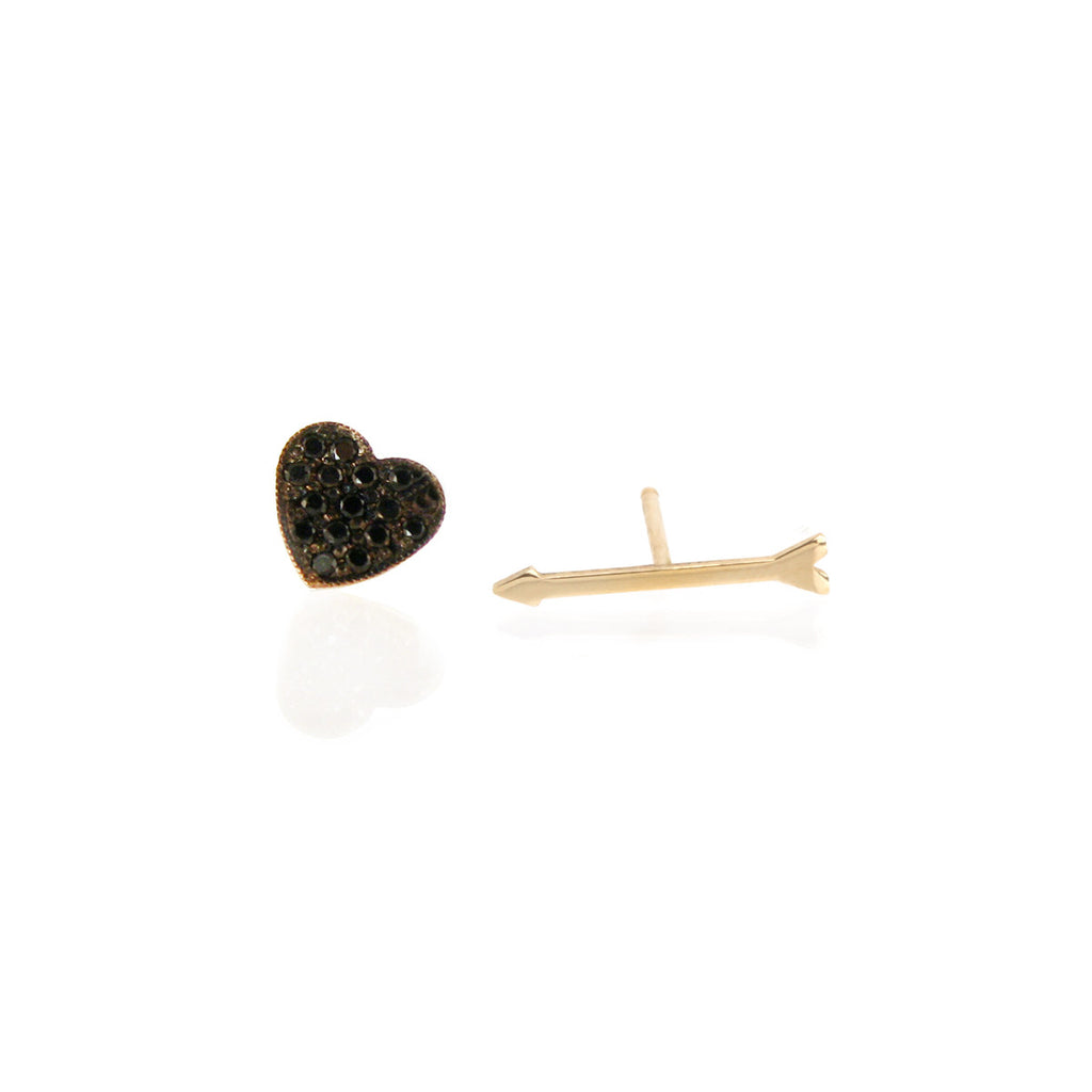14k heart and arrow black pave studs
