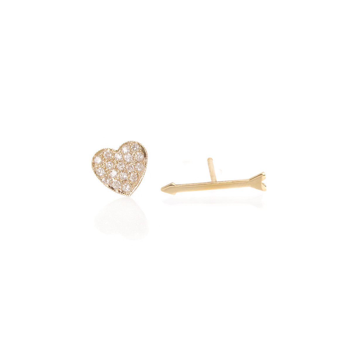 14k pave heart & arrow studs