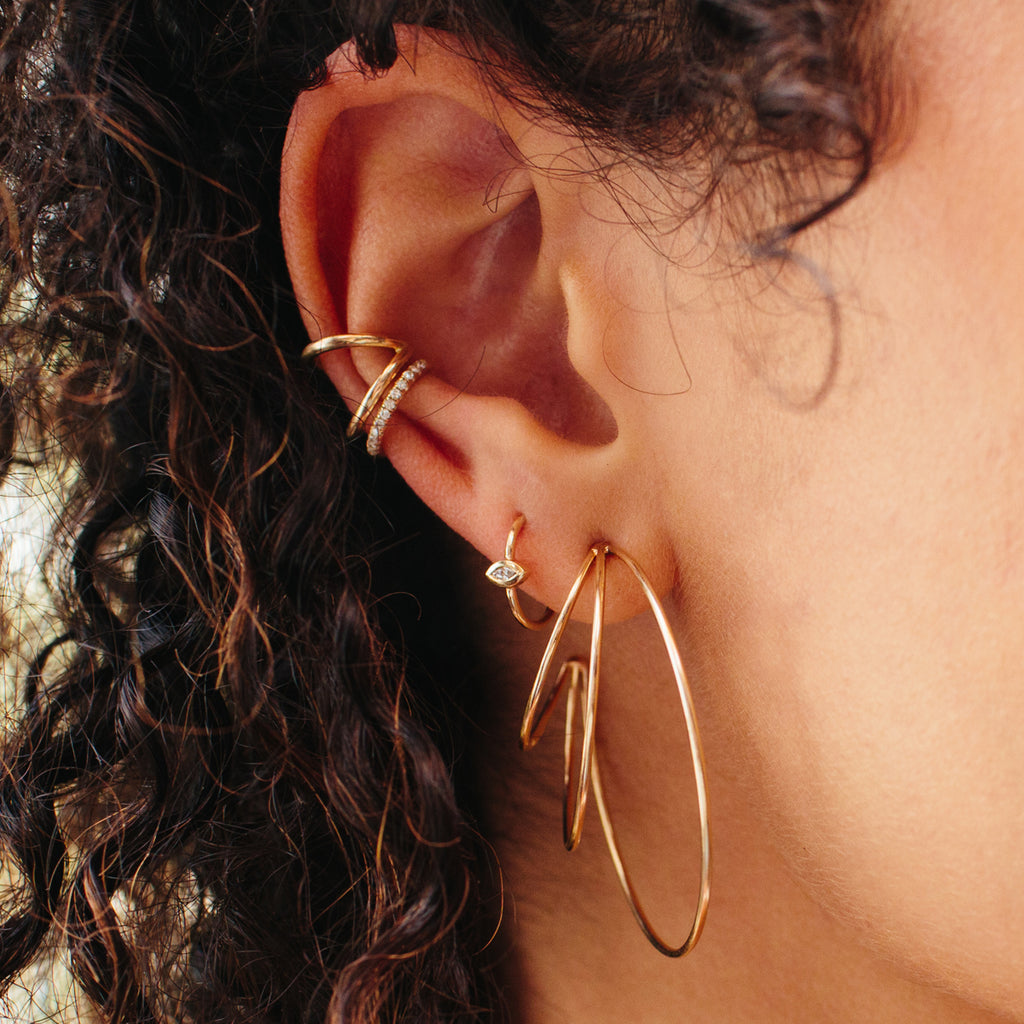 14k triple wire large hoops