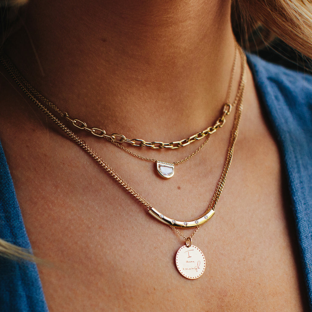 14k small mantra necklace on cable chain
