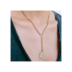14k large mantra curb chain lariat necklace