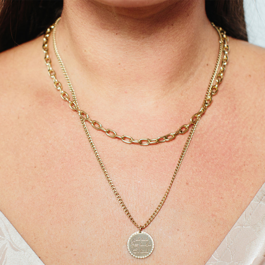 14k gold extra large square oval link chain necklace