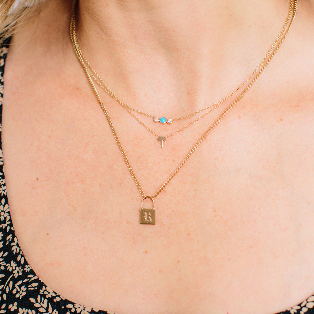 14k turquoise & diamond bezel necklace
