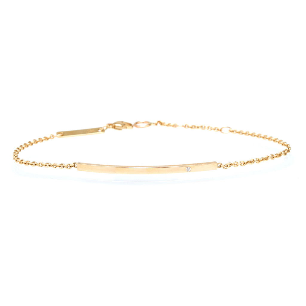 Zoë Chicco 14kt Yellow Gold White Diamond Curved Bar Bracelet