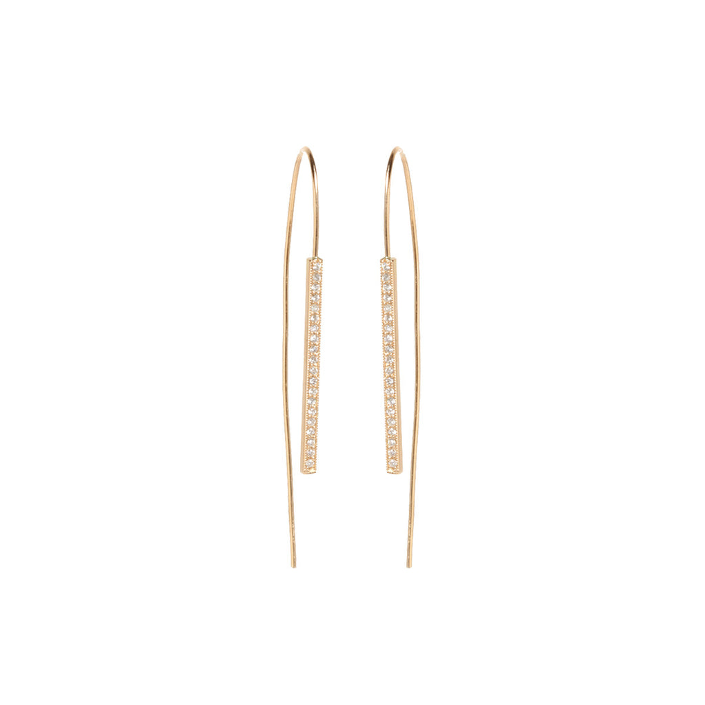 14k pave wire earrings