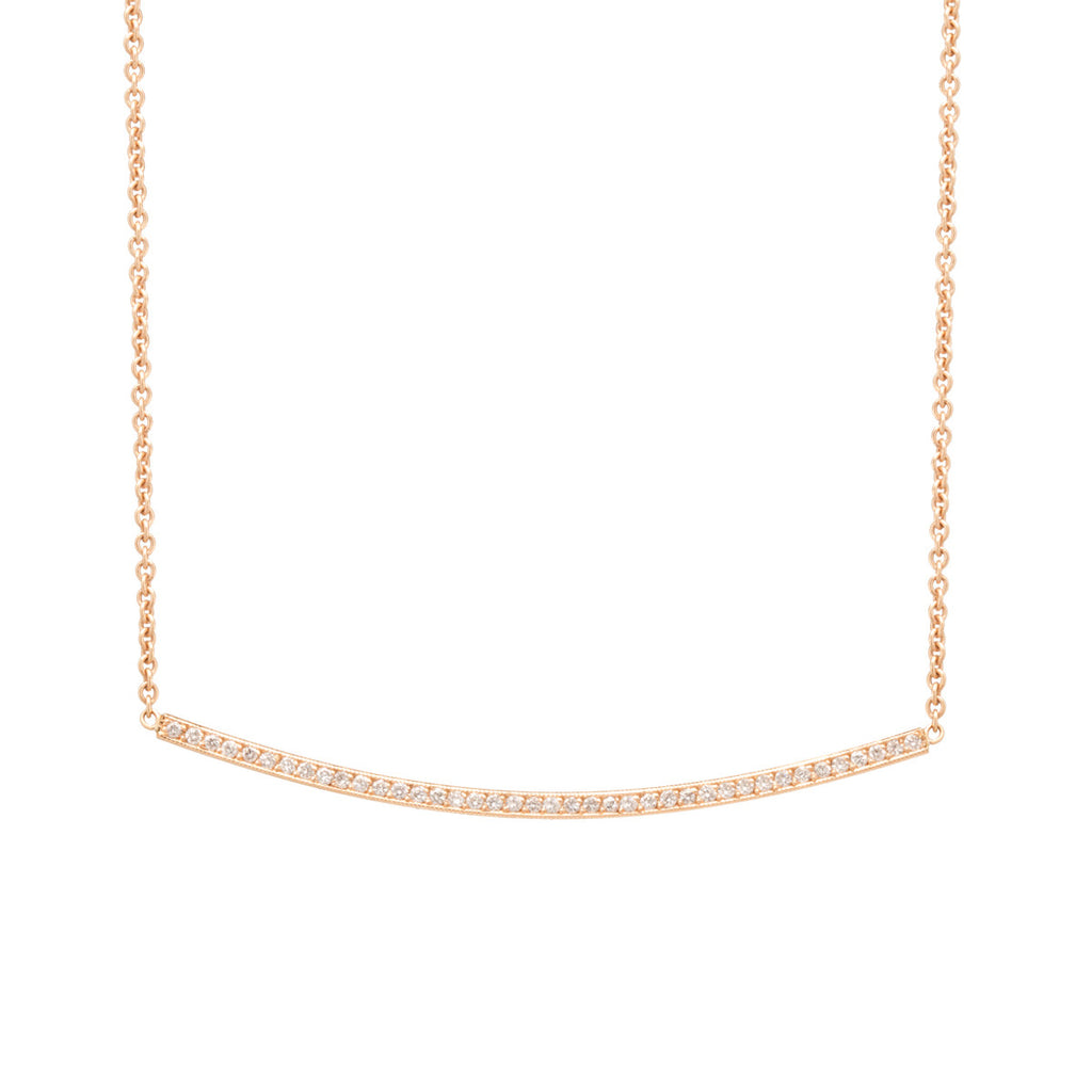 14k pave curved bar necklace