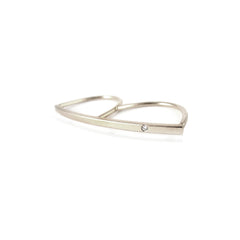 14k double finger bar ring