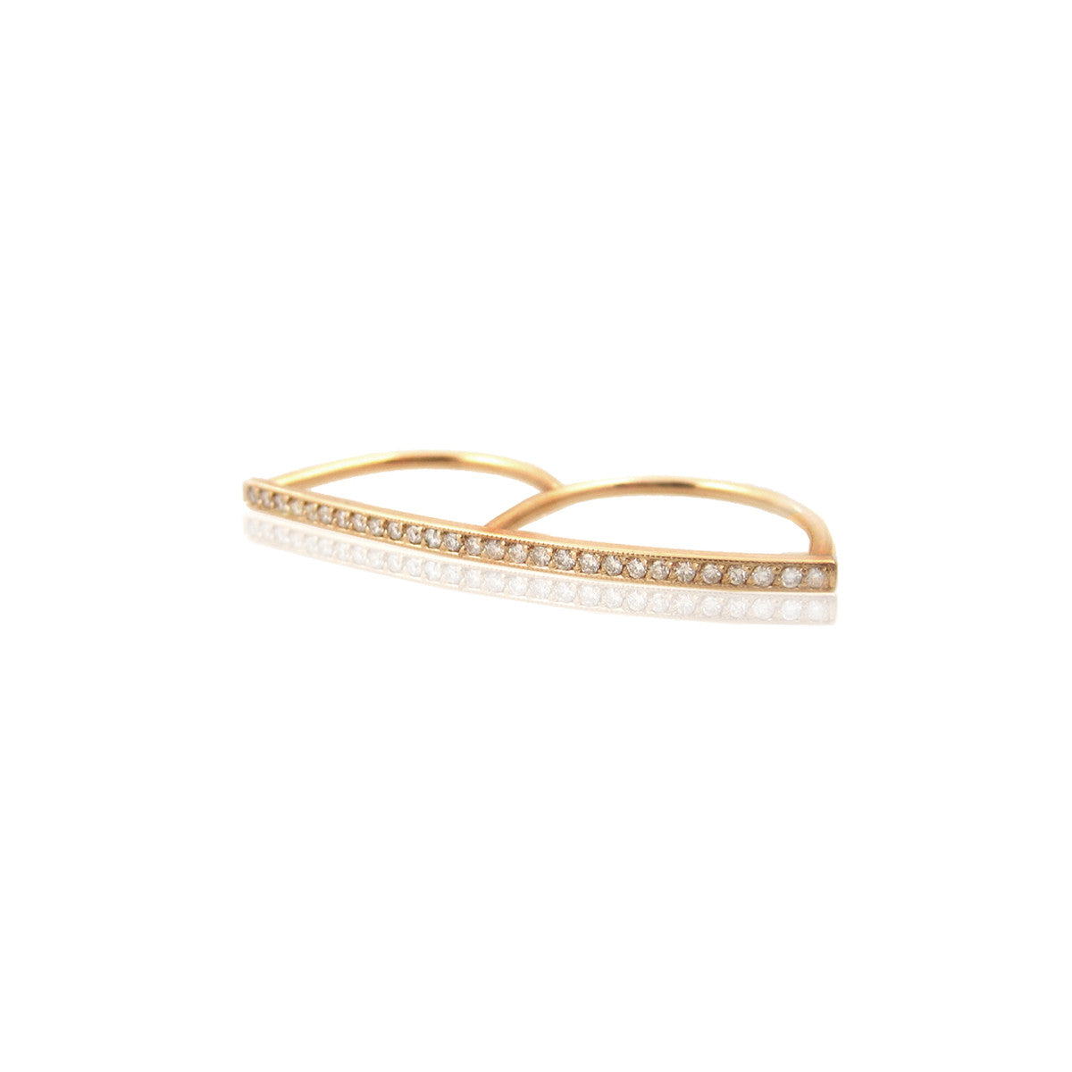 14k pave double finger ring