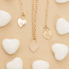 14k small heart padlock necklace with initial