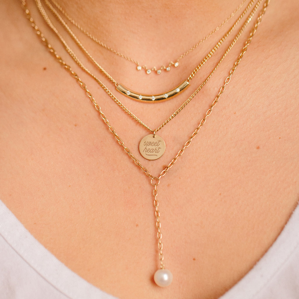 14k small oval link lariat with pearl drop