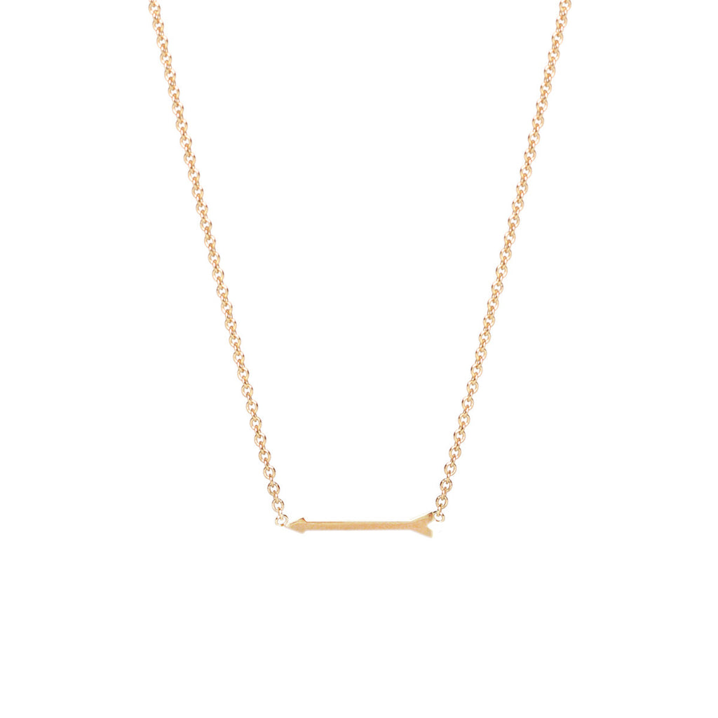 14k tiny arrow necklace