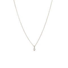 14k tiny diamond shaped necklace