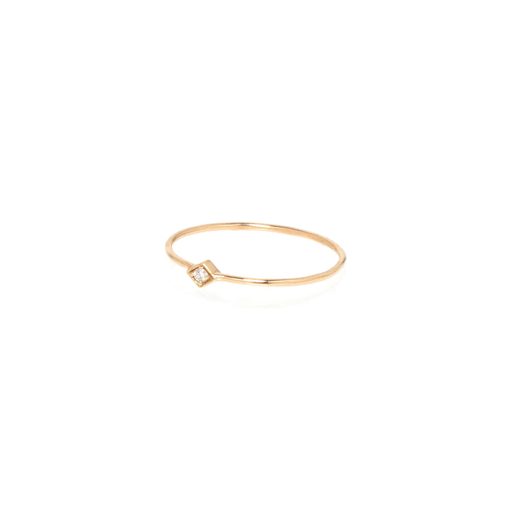 14k tiny diamond shaped ring