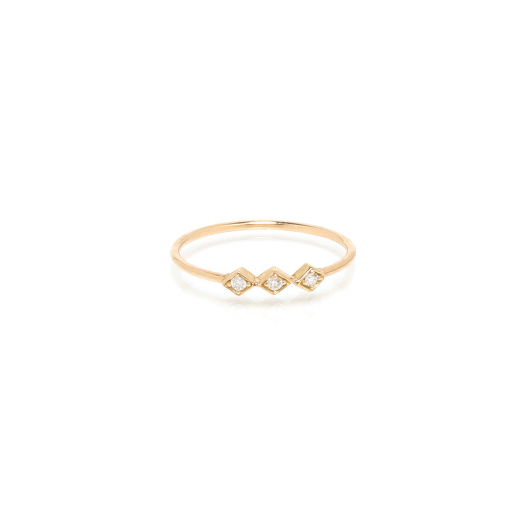 14k tiny diamond line ring