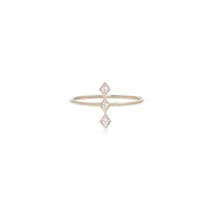 14k tiny diamond vertical line ring