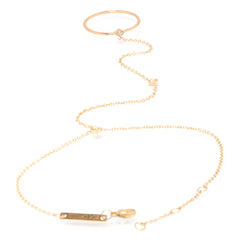 14k 3 tiny diamond ring hand chain